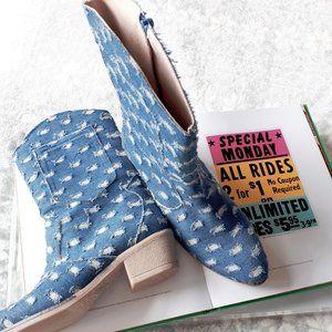 NWOT Humat denim & metallic silver cowboy boots 39